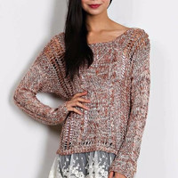Deep in December Lace Contrast Knit Tunic Sweater Pullover