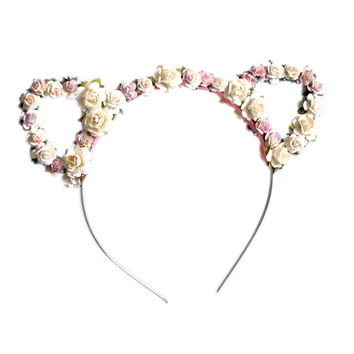 Crown and Glory Hair Accessories — Rachel Floral Kitty Ears - Pastel
