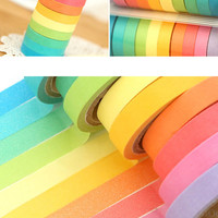 Mini Rainbow Washi Tape Colorful Masking Tape Set (10 Candy Colors) Kawaii Deco Tape Scrapbooking Card Making Gift Wedding Home Decor WR11