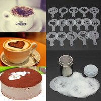 16X Cappuccino Coffee Barista Stencils+Stainless Steel Chocolate Shaker Duster V