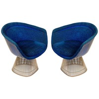 Warren Platner Lounge Chairs for Knoll in Original Fabric, USA, 1960s