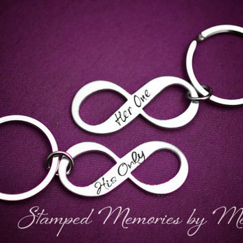 Her One, His Only - The Original - Hand Stamped Aluminum Infinity Keychain Set - Couple Key Chain Gift - Wedding, Anniversary or Birthday