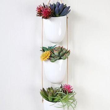 3-Tier Hanging Wall Planter with White Ceramic Pots