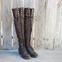 Over The Knee Laced Up Boots in Dark Brown