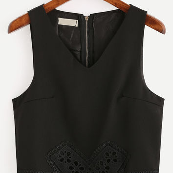Black V-Neck Zip Back Lace Trimmed Tank Top