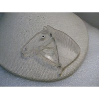 Vintage Carved Horse Head Brooch, Clear Lucite, 1940's, 3.25""