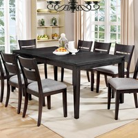 7 pc Beresford collection transitional style dark gray finish wood dining table set