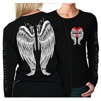 Country Life Outfitters Wings Guns Vintage Black Long Sleeve Bright T Shirt