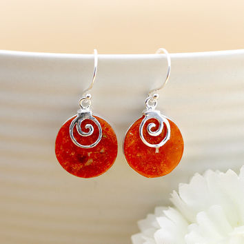 Coral Earrings,Silver Earrings,Vintage Earrings,Mom Jewelry,Mothersday gifts,Natural jewelry
