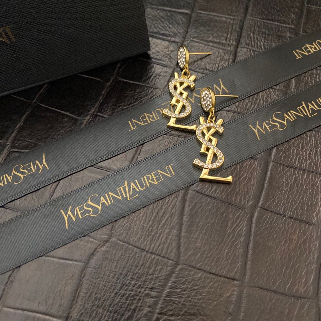 Image of YSL Woman Fashion Accessories Fine Jewelry Ring & Chain Necklace & Earrings 0702