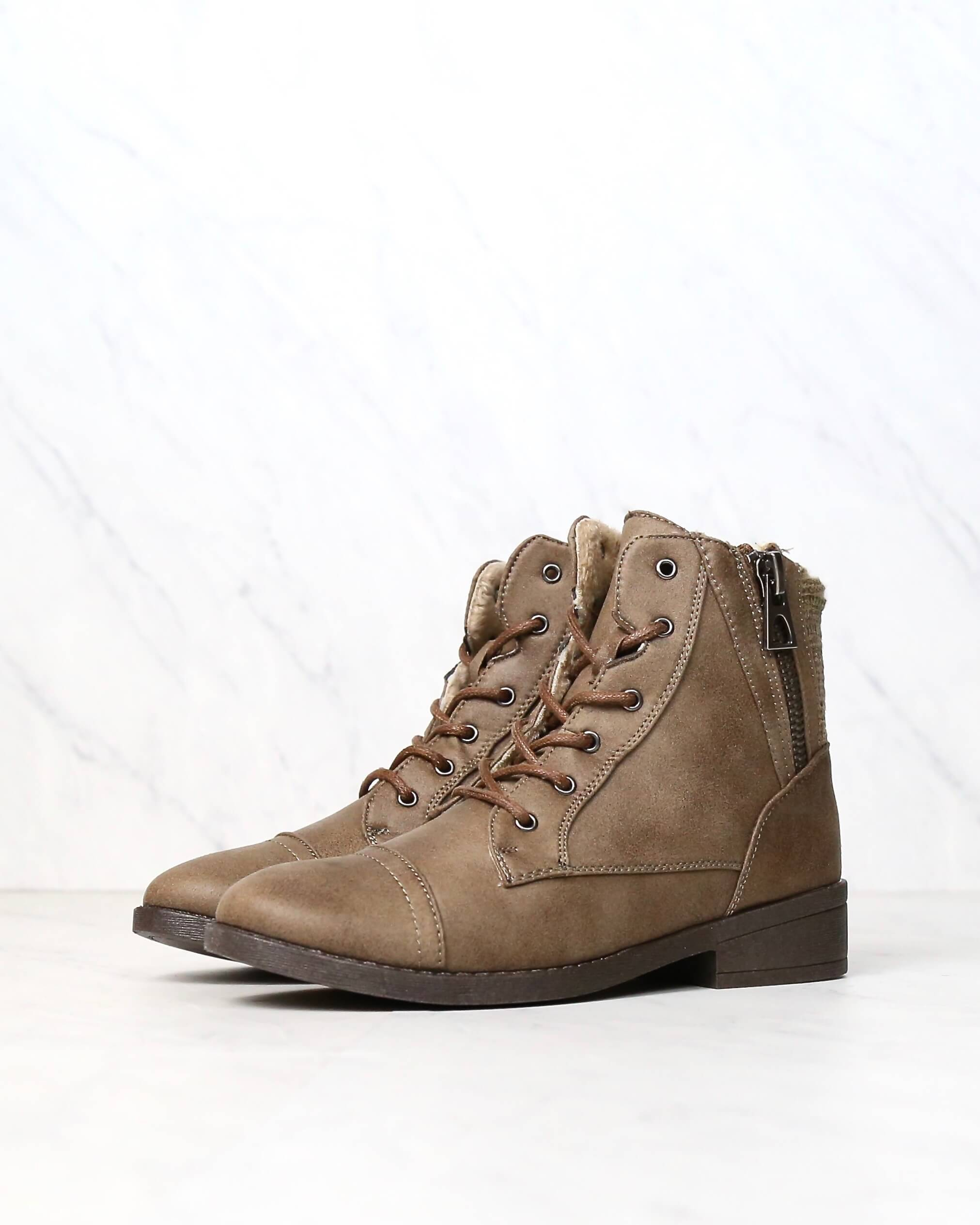 Image of Brielle Ankle Sweater Booties with Side Zippers in Taupe