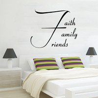 Faith Family Friends Wall Decal Quote Home Murals Love Vinyl Stickers Bedroom Decor Living Room Design Interior Valentines Day Gifts KI104