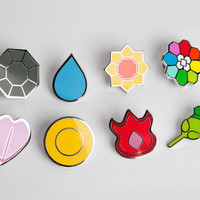 Complete set of 8 Silver Kanto Gym Leader Badges Lapel Pins from Pokemon Series 1. Free Shipping to the UK