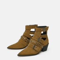 BELTED LEATHER HEELED ANKLE BOOTS DETAILS