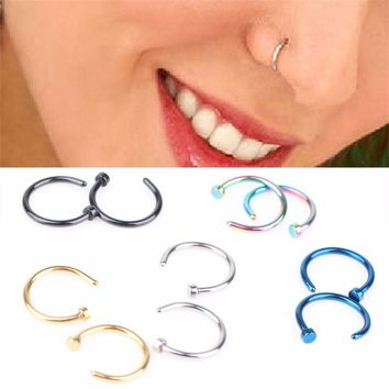 HOCOLE 5Pcs Small Earring Body Piercing Studs Stainless Steel Nose Open Hoop Ring Thin Jewelry Charm 8mm 7 colours
