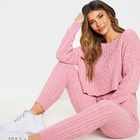 Dusty Pink Cable Knit Jumper & Legging Set