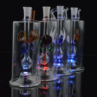 "5"" inch Glass Water Pipes with LED Bong Beautiful Oil Rigs with 10mm Pot Bowl and 20"" Hose Glass Hookahs Oil Concerntrate Dabs"