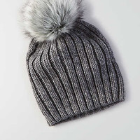 AEO Ribbed Fitted Beanie , Medium Heather