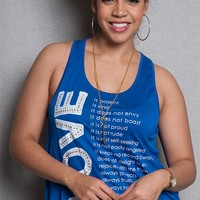 Love Nation Love Manifesto Graphic Plus-Size Tank Top With Key Necklace - Royal