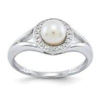 Sterling Silver Diamond & Pearl Ring