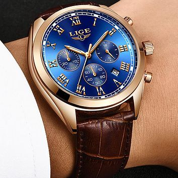 LIGE High End Luxury Mens Watch with Blue Face, 30M Waterproof