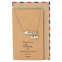 Amalia Mother's Day Gifts, Bird Necklace and Thank You Card