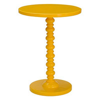 Round Wood Spindle Decorative End/Side Table - Yellow