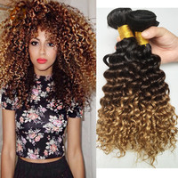 Brazilian Kinky Human Hair African American Cosplay Wigs For Black Women Ombre Blonde 3pcs ombre Hair Style Human Hair Extension