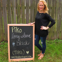 Black Long Sleeve Scoop Neck Piko Shirt On Sale | Overstock Boutiques