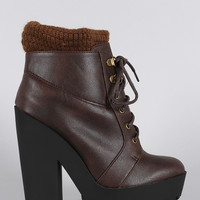 Qupid Sweater Cuff Lace Up Lug Sole Contrast Platform Heeled Combat Ankle Boots