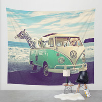NEVER STOP EXPLORING THE BEACH Wall Tapestry by Monika Strigel