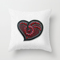 Throw Pillow Cover, heart pillow, novelty pillow, mosaic heart, love pillow, decorative pillow, black and white, red pillow, white pillow