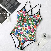 GUCCI New fashion floral letter print straps one piece bikini swimsuit