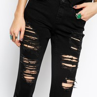 ASOS Lisbon Skinny Mid Rise Ankle Grazer Jeans in Black with Extreme Rips