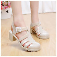 shoes women sandals jelly shoes roman thick heel soft pure color zapatos mujer summer round toe shoes women