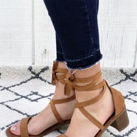 Danube - Strappy Ballerina Block Heel Sandals in Tan Color