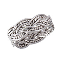 .925 Sterling Silver Detailed Celtic Knot Weave Toe Ring, Size 2.5