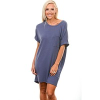 Dusty Blue Tee Dress