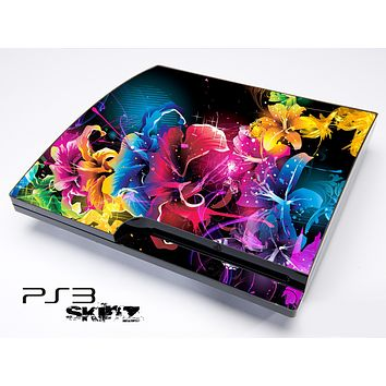 Neon Abstract Flowers Skin for the Playstation 3