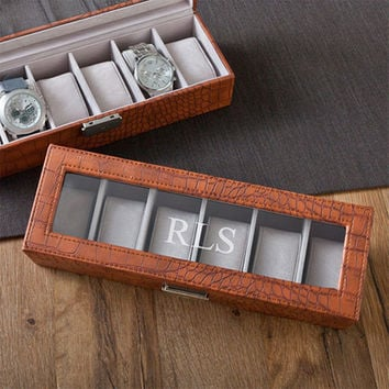 Personalized Watch Box - Men's Watch Box - Watch Box - Brown leather watch case - Groomsmen Gifts - Gifts for him - GC1299