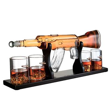 "Gun Large Decanter Set Bullet Glasses - Limited Edition Elegant Rifle Gun Whiskey Decanter 22.5"" 1000ml With 4 Bullet Whiskey Glasses and Mohogany Wooden Base By The Wine Savant"