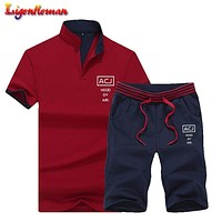 Summer Men Sportsuits Set 2019 Mens Stand Collar Fashion 2 Pieces T shirt Shorts Tracksuit Brand Fitness Suits 2PC Top Short Set
