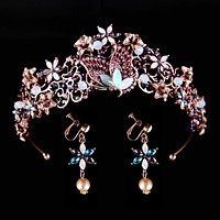 Vintage Rhinestone Wedding Butterfly Crown Headbands Purple Crystal Bridal Tiaras