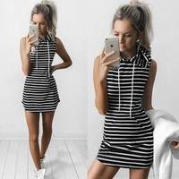Stripe Hooded Sleeveless Dress