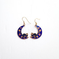 Vintage Cat on the Moon Earrings