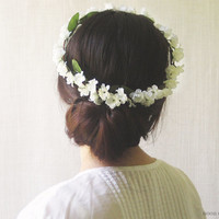 Flower Crown, White Floral Circlet, Bridal Wreath, Halo, Woodland Hair Accessories, Rustic Headpiece, Small, Dainty, Everyday