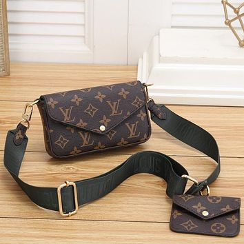 LV Louis Vuitton Classic Letter Printing Two-piece Cosmetic Bag Shoulder Bag Messenger Bag Small Wallet