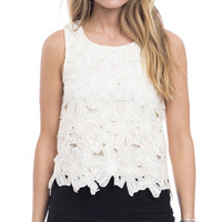 Flirty Floral Embroidered Lace Crop Top
