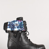 Bumper Freda-45AA Floral Cuff Military Lace Up Boot