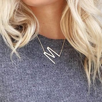 W Gold Oversized Initial Necklace